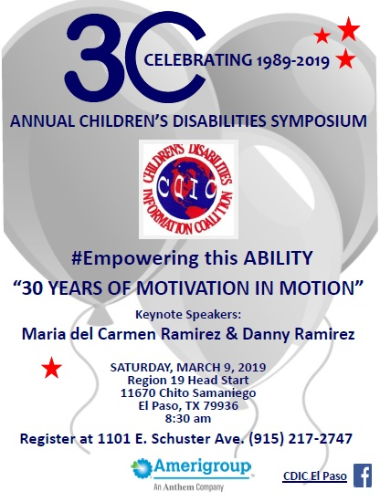 30th Annual Childrens Disabilities Symposium, 9 March, 2019!