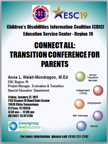 Transition Conference: For Parents.  January 27, 2017