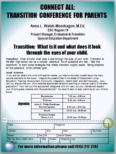 Transition Conference: For Parents.  Register Today
