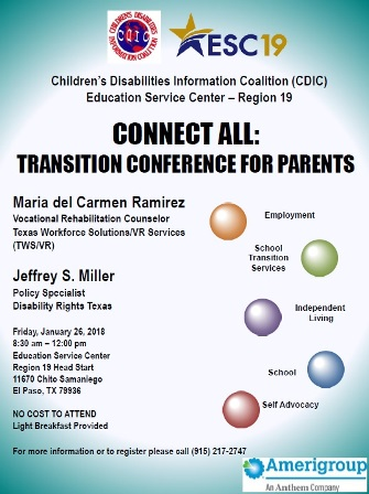 Transition Conference for Parents, January 25, 2019!
