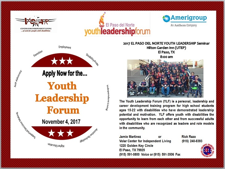 The Youth Leadership Forum (YLF) is a personal, leadership and career development training program for high school students ages 15-22 with disabilities who have demonstrated leadership potential and motivation. YLF offers youth with disabilities the opportunity to learn from each other and from successful adults with disabilities who are recognized as leaders and role models in the community.